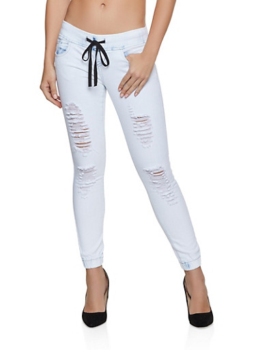 VIP Frayed Denim Joggers,DENIM,large