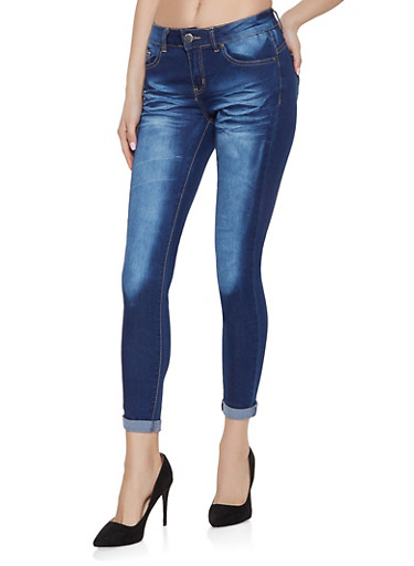 VIP Whisker Wash Roll Cuff Skinny Jeans,DARK WASH,large