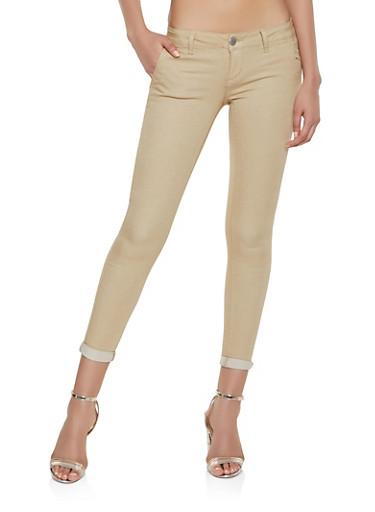 Rolled Cuff Solid Twill Pants | Khaki,KHAKI,large