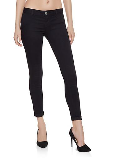 Solid Skinny Pants,BLACK,large