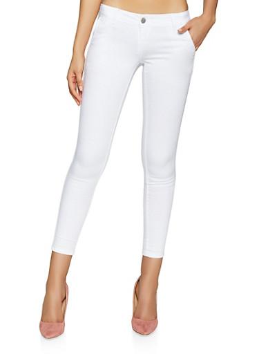 Twill Skinny Pants,WHITE,large