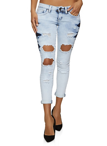 VIP Acid Wash Destruction Jeans,MEDIUM WASH,large