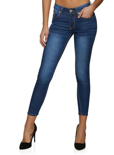 VIP Solid Whisker Wash Skinny Jeans,MEDIUM WASH,large