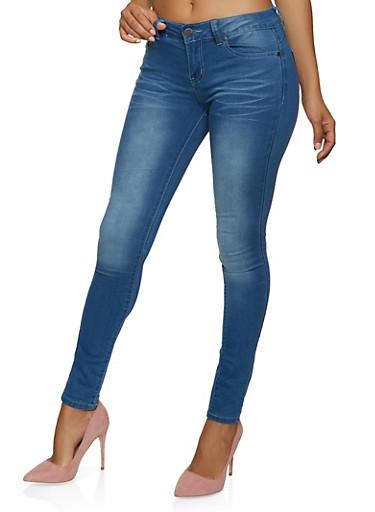 VIP Basic Whiskered Skinny Jeans,MEDIUM WASH,large