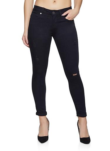 VIP Black Distressed Skinny Jeans,BLACK,large
