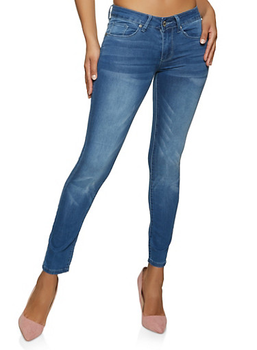 VIP Whisker Wash Basic Skinny Jeans,MEDIUM WASH,large
