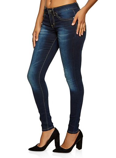 VIP Basic Whisker Wash Skinny Jeans,MEDIUM WASH,large