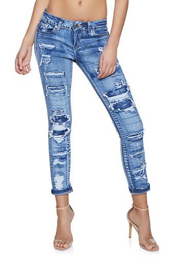 VIP Patch and Repair Roll Cuff Jeans,MEDIUM WASH,large
