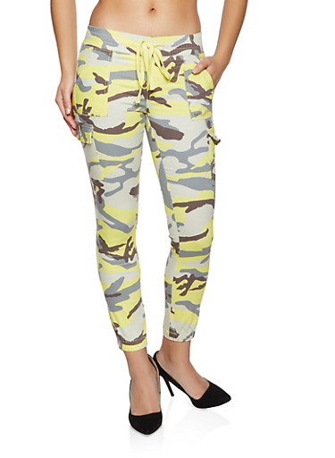 Camo Twill Cargo Joggers,YELLOW,large