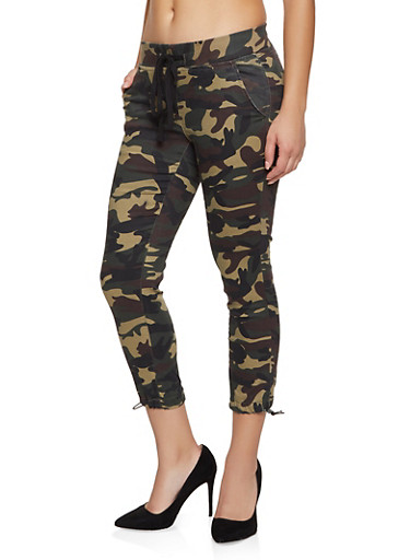 Pull On Camo Joggers,GREEN,large
