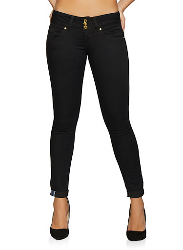 VIP Black 3 Button Skinny Jeans with Cuffs,BLACK,large