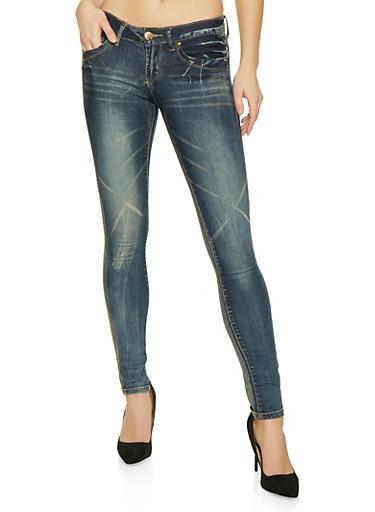 VIP Basic Skinny Jean with Whiskering   Medium Wash,DENIM,large