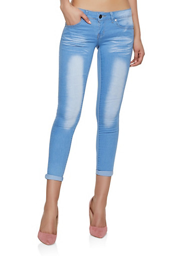 VIP Cropped Roll Cuff Skinny Jeans | Light Wash,DENIM,large