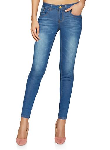 VIP Push Up Skinny Jeans | Blue Whisker Wash,DENIM,large