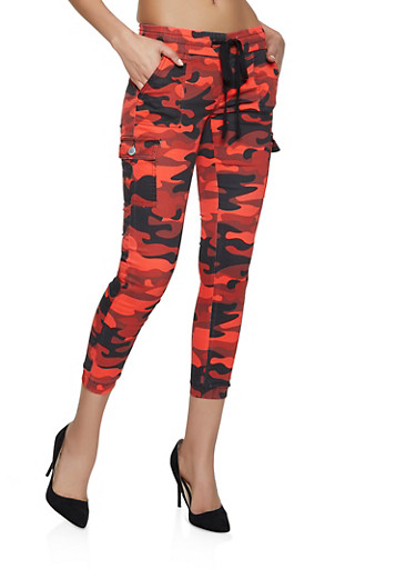 Camo Cargo Joggers | Red,RED,large