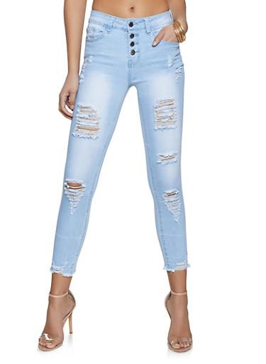 VIP Distressed Skinny Jeans,LIGHT WASH,large