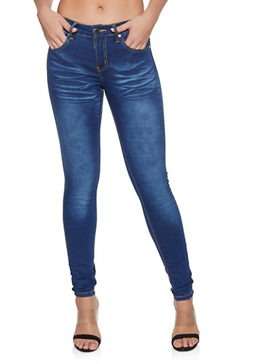 VIP Whisker Detail Push Up Skinny Jeans | Medium Wash,MEDIUM WASH,large