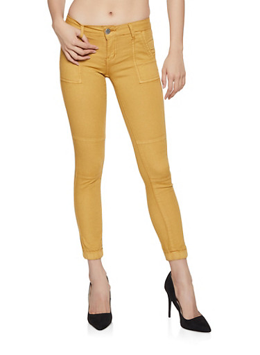 Push Up Twill Joggers,MUSTARD,large
