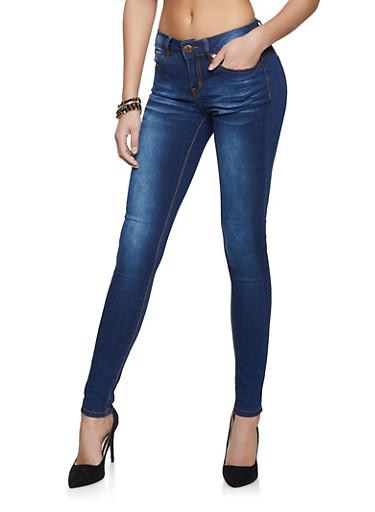 VIP Whiskered Wash Skinny Jeans,DARK WASH,large