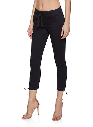 Cropped Drawstring Hem Joggers,BLACK,large