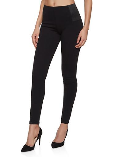 Gore Detail Ponte Pants,BLACK,large