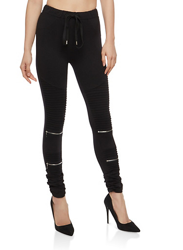 Ruched Moto Jeggings,BLACK,large
