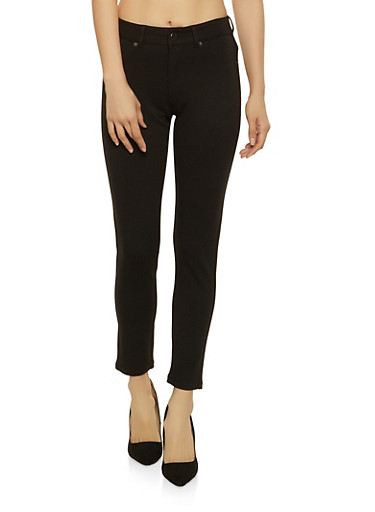 Skinny Ponte Pants,BLACK,large