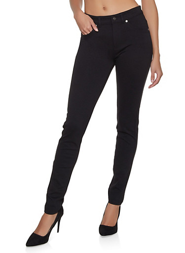 Ponte Knit Push Up Skinny Pants,BLACK,large