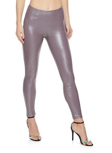 Faux Leather Leggings,GRAY,large