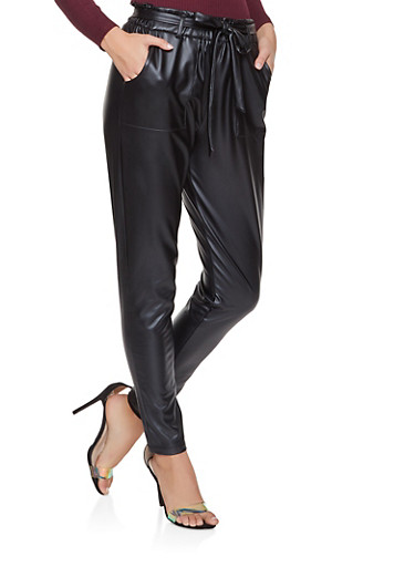 Faux Leather Paper Bag Waist Pants,BLACK,large