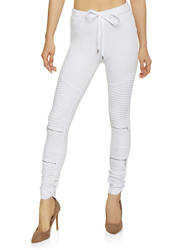 Ruched Moto Jeggings,WHITE,large