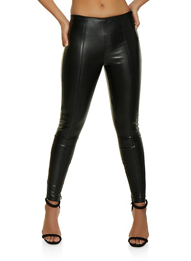 Pull On Faux Leather Pants,BLACK,large