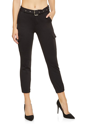 Belted Ponte Cargo Pants,BLACK,large
