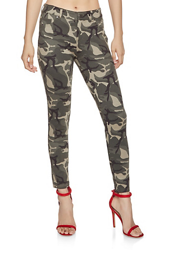 Camo Jeggings,GREEN,large