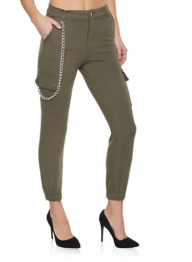Chain Detail Ponte Cargo Joggers,OLIVE,large