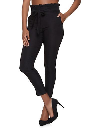 Paper Bag Waist Stretch Pants,BLACK,large