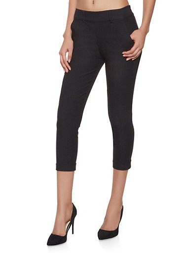 Cropped Stretch Dress Pants,BLACK,large