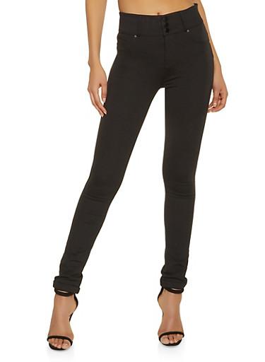 3 Button Ponte Knit Push Up Pants,BLACK,large