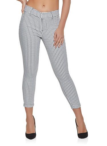 Plaid Dress Pants,WHT-BLK,large