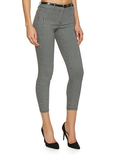 Printed Belted Pants,BLACK/WHITE,large