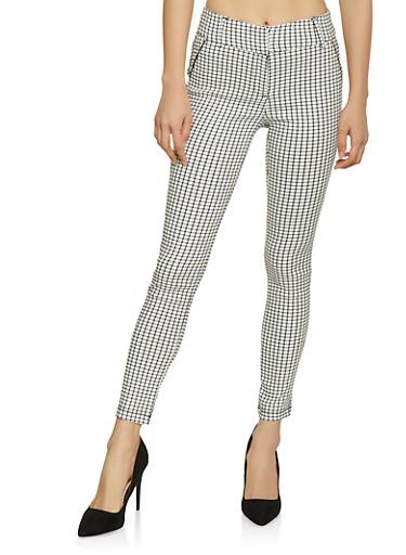 Checkered Dress Pants,WHT-BLK,large