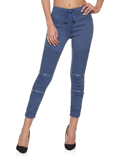Denim Knit Moto Jeggings,BLUE,large