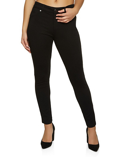 Solid Ponte Pants,BLACK,large