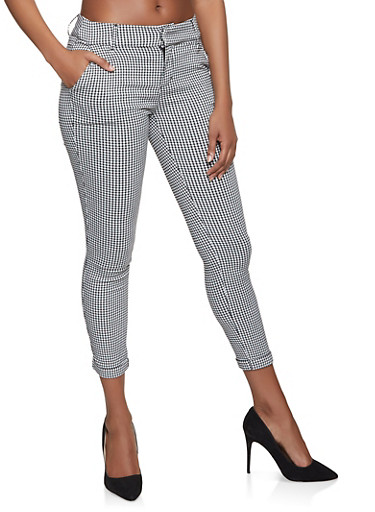 Checkered Dress Pants,BLACK/WHITE,large