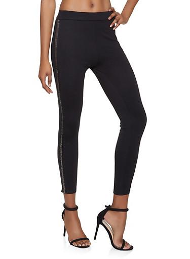 Beaded Trim Ponte Pull On Pants,BLACK,large
