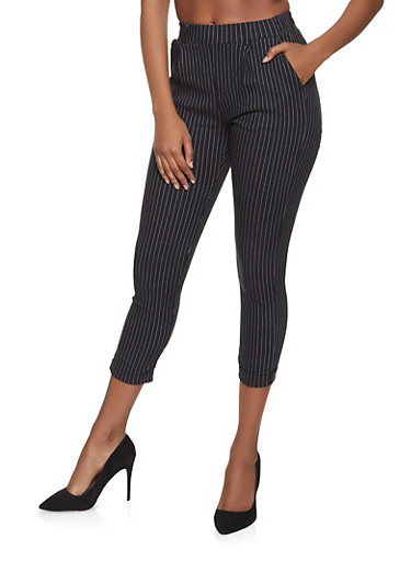 Striped Pull On Pants,WHITE,large