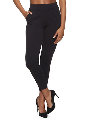 Crepe Knit Dress Pants,BLACK,large
