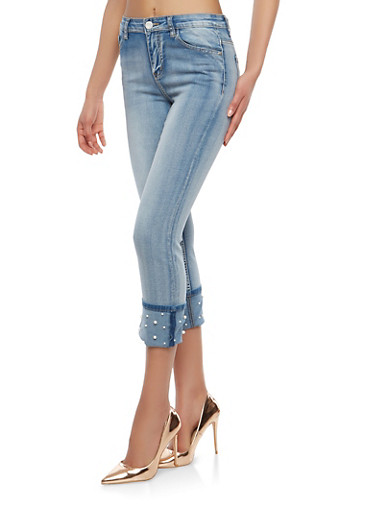 Faux Pearl Cuffed Skinny Jeans,LIGHT WASH,large