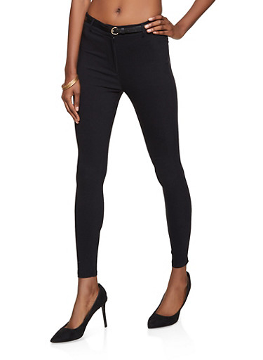 Belted Twill Dress Pants,BLACK,large