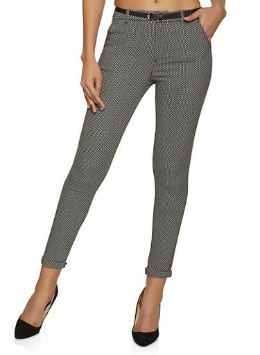 Jacquard Dress Pants,BLACK/WHITE,large